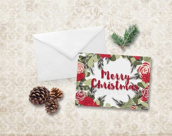 Christmas Cards Holiday Red Poinsettia Rose Holy Pine Note Card Invitation NCC007