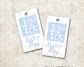 Tags Baby Shower Boy Gift Tags Favor Tags Wish Tree Monogram Treat Bag Tag TB005
