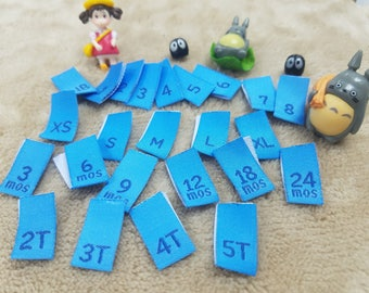 Free Shipping, Mixed Lot of 100 Pieces Light blue / Navy Woven Clothing Sewing Size Pips, Labels, Tags, Tabs (Choice of active size)