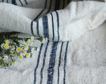 E 463: antique handloomed BLUEBERRY BLUE ;grainsack, pillow, cushion, runner, 54.33 long,upholstery project,french lin,decor