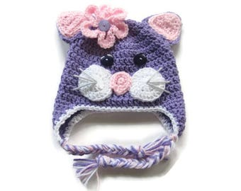 Girls' Kitty Hat -Cat Earflap Baby Hat - Size 3 to 6 Months - Crochet Purple Pink Kitty Baby Hat - Kitty Earflap Hat - Ready To Ship