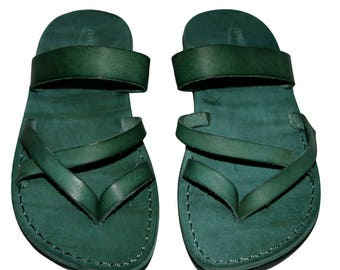 CLEARANCE SALE - Green Moon Leather Sandals for Men & Women - EURO # 39 - Handmade Unisex Sandals, Genuine Leather Sandals, Sale