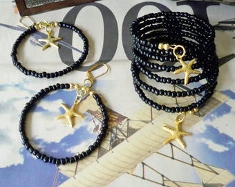 Set - Wrap bracelet and Hoop earrings - Gold Starfish charm - Black seed beads - Memory Wire - Boho chic - Bohemian cuff - bycat