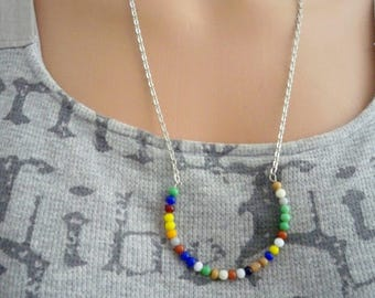Multi color glass beaded necklace - Half Moon shape- 3mm to 4mm size beads - Silvertone chain - bycaat
