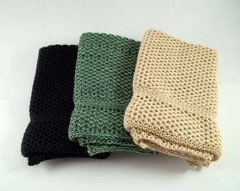 Dishcloths/Washcloths Knit in Cotton in Black, Butter and Hemlock/Lime/Pewter