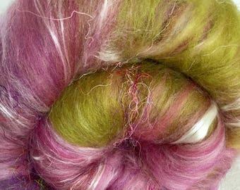 Hand carded batt, Flax, Silk, Merino, Sari silk threads, Tencel, 60g, spinning, felting, fibre, fiber, Parfait