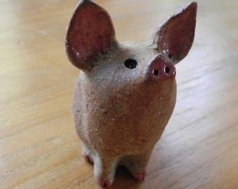 cute stoneware piggie pig piglet figurine statue