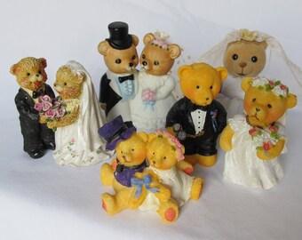 Bears Wedding Cake Topper Figures Figurines Bride Groom Woodland Animals Ceramic Resin Flocked Velour Net Bridal Veil Shower Decor