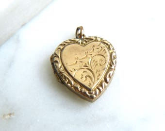 Vintage Gold Locket, Gold Back and Front Locket, Engraved Heart Locket Necklace, Ornate Locket, 9ct Gold BK & FT Locket