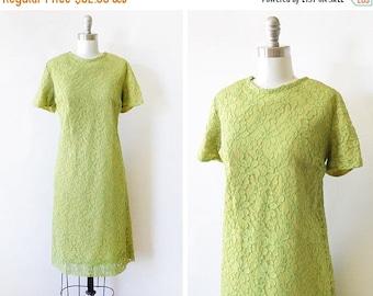 20% OFF SALE 60s green lace dress, 1960s shift dress, mod party dress, chartreuse a line dress, medium large ml
