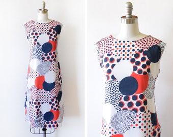 60s mod dress, vintage 1960s red, white, and blue dress, mod scooter dress, op art graphic print polka dot dress, large l