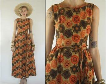 SUMMER SALE Vintage 60s Floral Linen Tapestry Boho Preppy Orange brown Sleeveless Belted Maxi dress XS S