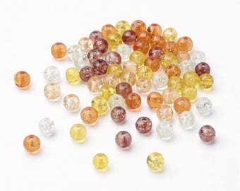 6mm mixed amber crackle glass beads - set of 100