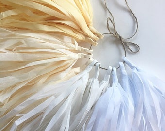 GRADIENT IVORY / tissue paper tassel garland / nursery decor ombre cream champagne wedding aisle marker anniversary decorations baby bridal