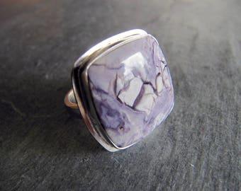 Bertrandite (Tiffany Stone) and Silver Ring
