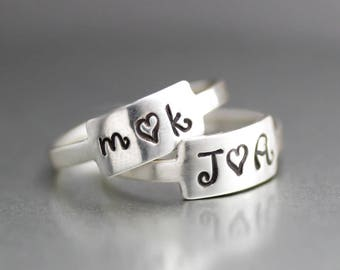 Sweetheart Initial Rings, Custom Initial Rings, Personalized Rings, Sterling Silver Ring, Heart Ring, Anniversary Ring, Wedding Ring, Heart