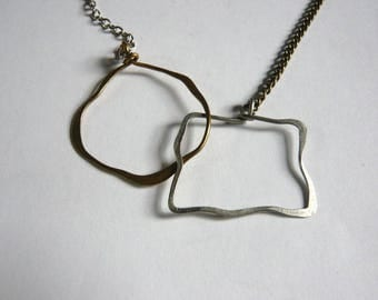 Mixed chain necklace (round and square intertwined)