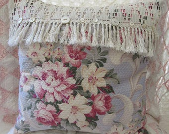Handmade OOAK Shabby Cottage Roses and Scrolls 40s Drapery Fabric Pillow with Hand Crocheted Trim with Antique Buttons