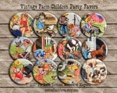 "Reserved Listing for Marcy, Vintage Farm Children Party Favors 2.25"" Magnets, Set of 24, Showers, Birthday Parties"