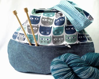 Cat Lover Knitting Crochet Project Bag zippered pocket - Japanese Knot WIP shawl cowl scarf sock bag - blue teal - free knitting pattern too