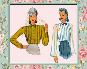 Vintage 1940-TAILORED BLOUSES-Sewing Pattern-Three Styles-Bishop Sleeve-Nipped Waist-Fitted-Front Pleats-Tie-Bow-Size 16-Mega Rare