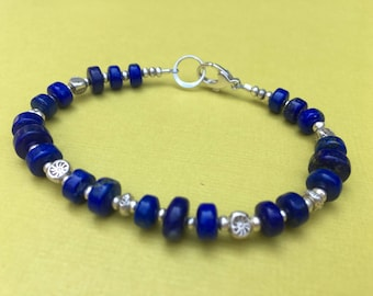 Lapis Lazuli Stone- Hill Tribe Fine Silver Beaded Bracelet- One of a Kind- Blue Stone Bracelet