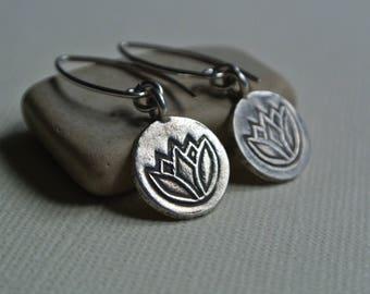 Silver lotus earrings, dangle, lotus flower, fine silver, hill tribe eattings, yoga earrings, yoga jewelry gift