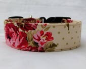 Chic Floral and Polka Dots-Choose Buckle or Martingale Dog Collar-Small-Large Breed Dog-5/8-1 inch 1.5 -2 inch width-Traffic-Dog Leash