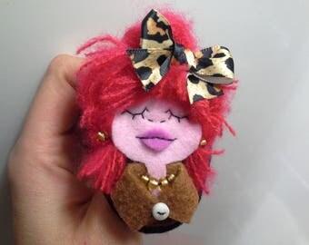 Small Brooch Portrait Art Doll Imelda Red