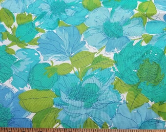 Vintage Linen look blend of cotton rayon perhaps Large Floral in blues and greens almost 4yd