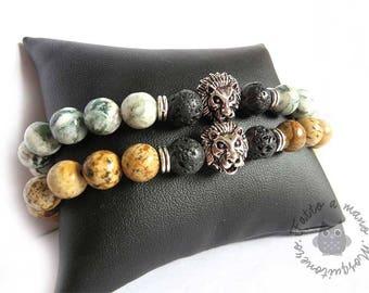 Men bracelet, Bracelet Lion's head, pearl bracelet, lava rock, elastic bracelet, lion head, stone bracelet, gift him