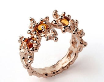 SALE 20% Off - BETWEEN the SEAWEEDS Rose Gold Ring, Citrine Ring, Rose Gold Citrine Ring, Unique Gold Ring, Rose Gold Band