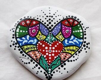 Painted Rock Art, Heart Rock, Paper Weight, Desk Art, Great Lakes Beach Rock