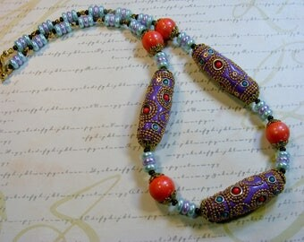 Summer Colors-lavender, coral, blue, clay and glass necklace, 23 inches or 58.5 cm