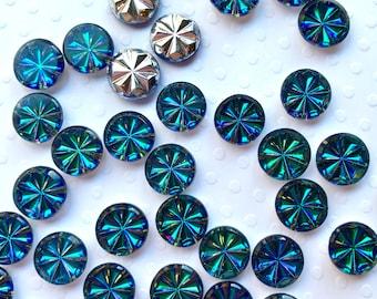 9mm Sapphire Blue Starburst Vintage Glass Rhinestones (36 pieces)