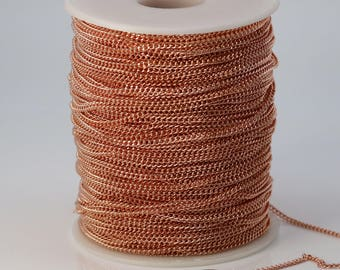 NEWnew 10 feet spool of Copper (Bright Copper) Plated SOLDERED FACET Curb Chain - 2.3mm Solder link - with Free Matching Jumpring (10 pcs)