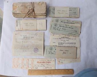 Lot of 1920s Used Bank Checks & RR Loan Paper John Damerel Brooklyn NY