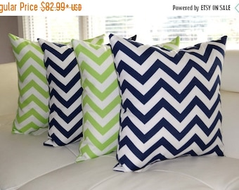 Chevron Lime Green and Navy Blue Chevron Outdoor Throw Pillow - Set of 4 - Free Shipping