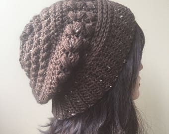 Crochet Vegan Brown Slouchy Hat Textured Beanie boho hipster hippie hand knit hat Winter Fashion ready to ship