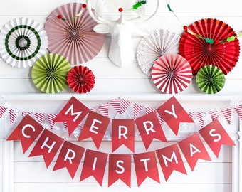 Merry Christmas Banner - Christmas Garland - Red Christmas Banner - Christmas Pennant Banner - Christmas Party Banner - Holiday HYP407