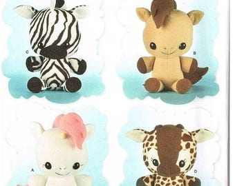 "On Sale Unicorn Sewing Pattern Simplicity 8034 Horse, Zebra, Giraffe Stuffed Plush Toy Dolls Craft 16.5 "" Tall New Uncut Factory Folded"