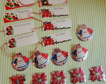 Christmas Memories in Vintage 1940s 1950s Stickers and Tags 10 Stickers and 8 String Tags 18 Pieces