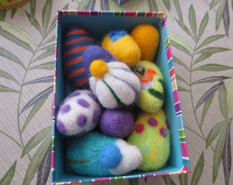 needle felted EASTER EGGS in decorative box  easy to display, easy to store, great no-calorie gift idea