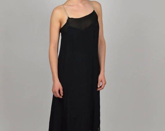sale 20s Dress, Slip Dress, Flapper Dress, Black Dress, Womens Vintage Clothing, Silk Dress, Downton Abbey Dress, Bias Cut Dress, Tea Length