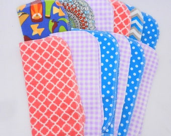"Cloth Wipes Set of 12, 8"" by 8"" Cotton Flannel Wipes, Baby Wipes, Cloth Diaper Wipes, Tissues, Untoilet Paper, Lunchbox Cloth Napkins"