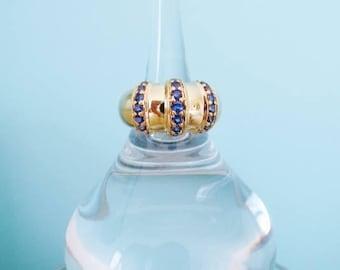 SAPPHIRE 18K Yellow Gold Vtg Ring Blue Gemstone September Birthstone Dome Statement Estate Fine Jewelry
