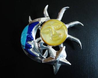 Vintage Sterling Silver Gemstone Brooch Pendant Sun Moon Stars MOP Lapis Turquoise Celestial Pin Jewelry