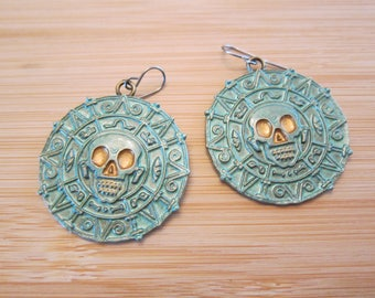 Johnny Pirate Hand Painted Aztec Skull Earrings Sage Green Gold