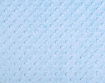 Light Blue Minky Dot Cuddle Fabric - sold by the yard