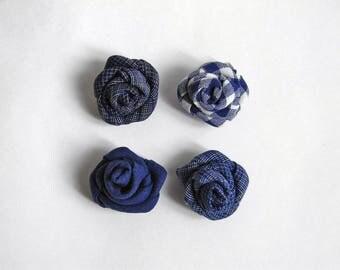 Linen lapel flower. Men lapel pin. Flower stick pin. Rose boutonniere. Men accessories. Blue. White. Gingham. Solid. Plaid.
